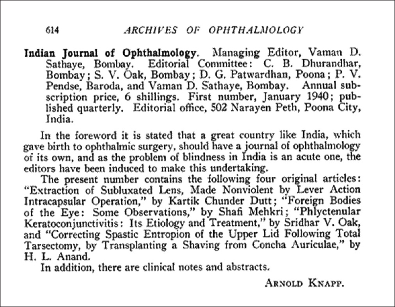 Figure 1: Editorial comments by Arnold Knapp in <i>Archives of Ophthalmology</i> in 1940, mentioning about the new journal &#8211; <i>Indian Journal of Ophthalmology</i>